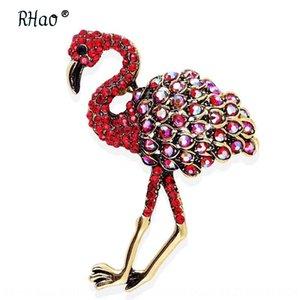 Мода эмаль масло сплава Красного Flamingo страус способа эмаль масла сплава красных аксессуары Flamingo страус брошь брошь аксессуары