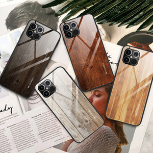 Luxury Wood Grain Phone Case For iPhone 12 Pro Max Soft TPU Edge Slim Glass Cover Case for iPhone 12 Pro 12Pro Max 12Max