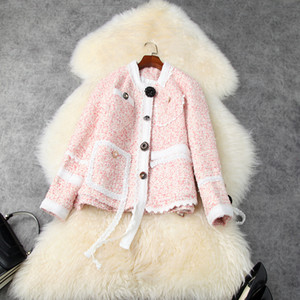 European and American women's wear 2020 winter new style Long - sleeved single - breasted fine buttons Fashionable tweed coat