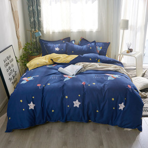 Dream little elephant bedding set duvet cover sets BedLinen Blue background lollipops and stars Soft comfortable beding sets Q28