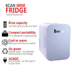 Mini Portable ZOKOP 6L 8 Can Mini Fridge Cooler Warmer Home Office Car White