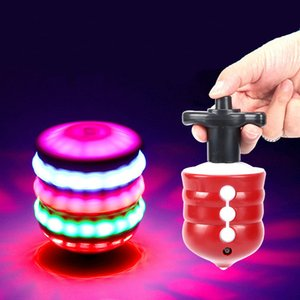 Children's Puzzle Luminous Music Gyro Colorful Flash LED Lamp Imitation Wooden Gyro Toy LED Lighted Toys Children Kid Birthday Gifts