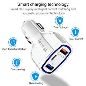 Cgjxstop Qualidade QC3 .0 três portas USB Car Charger Quick Charge Car -Charger Dual USB Car Charger Telefone Móvel