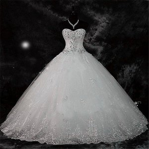 New Arrival Real Photoes Bling Bling Crystal Wedding Dresses Lace Rhinestone Plus Size Ball Gown Wedding Bridal Gowns Vestido De Novia