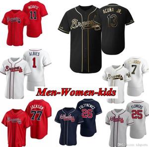Nueva Atlanta 2020 niños Bravos mujeres de los hombres del jersey de béisbol Ronald Acuña Jr Freddie Freeman Ozzie Albies Josh Donaldson Chipper Jones Hank