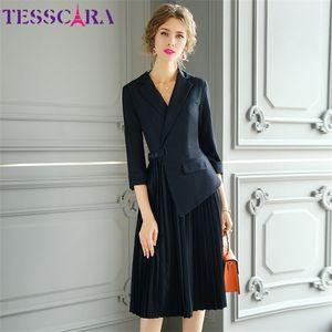 TESSCARA Women Spring Elegant Blazer Dress Festa High Quality Notched Office Cocktail Party Robe Femme Designer Pleated Vestidos0921