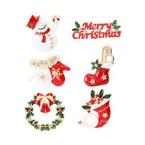 New Fashion Rhinestones Bling Brooches Christmas Boots Jingling Bell Santa Claus Snowman Brooches Pins for Women Jewelry