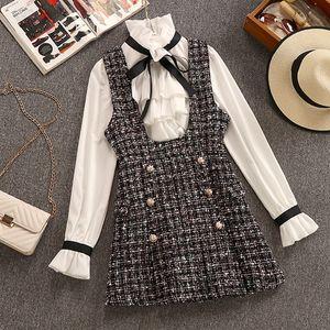 2020 Outono Inverno 2 Piece Set Macacões vestido de mulher elegante camiseta Ruffles Chiffon Bow Top + Abotoamento manta Tweed Vest Vestido T200825