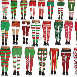 Leggings estiramento apertadas calças Sports Yoga do Natal de Santa Mulheres Jogging calças compridas lápis Pant magro Playsuit Boutique Roupa D9104