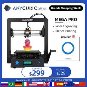 ANYCUBIC ميجا برو 3D الطابعة الطباعة النقش بالليزر تعمل باللمس الطابعة الطباعة TPU الشعيرة ثنائي جير الطارد ليزر 3D