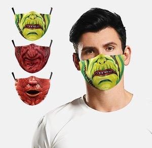 Masque gros Horreur Halloween Pumpkin Zombie Horreur Masque de filtre réglable 3D numérique Impression poussière et Haze Respirant Mask