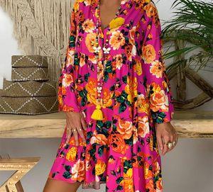 Fashion Summer Women's Lady Print Long Sleeve Shirt Casual Women Dress Loose Clothes Falda De Manga Larga44