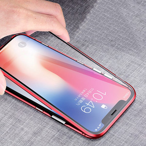 Magnetic adsorbimento metallo + vetro temperato magnete integrato Clear Case lanci la copertura di iPhone per 12 Pro Max 11 XS XR X 8 7 6 6S Plus SE 2020