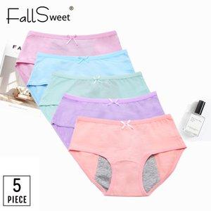 FallSweet 5 PC / Los reizvolle Periode Panties mittlere Taillen Menstrual Briefs Leak Proof Unterwäsche Weiblich XXXL LJ200814