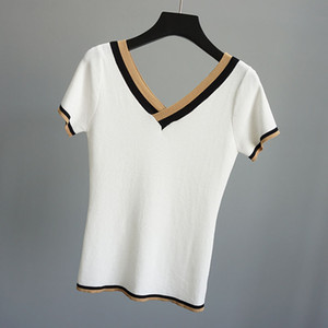 Ladies Ice Lien Cool Pullover Tops Short Sleeve Knitted Women High Fashion Summer Knitwear Causal Solid Color White Pull Female