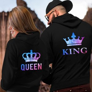 QUEEN KING CROWN Couple Hoodies Chritsmas Costumes Women Men Lovers Sweatshirt Lovers Couples Drop Shipping Good Quality