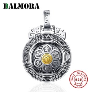 BALMORA 925 Sterling Silver 360 Rapid Rotating Six Words' Sutra Pendants & Necklace for Women Men Buddhism Cool Fashion Jewelry