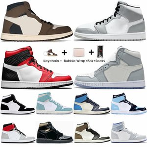 Nike Air Jordan Retro 1 High Travis Scotts Basso Bloodline Shattered Tabellone 3.0 Mens scarpe da basket 1s Fearless UNC Nuova WMNS Tie-Dye Sport Sneakers con la scatola