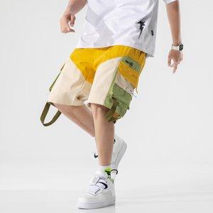 Harajuku Streetwear Summer Casual Shorts Men Cotton Big Pocket Men's Shorts Knee Length Bermuda Short Pants Men Sweatshorts MX200815