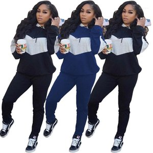Бюстье Мода Геометрическая панелями с длинным рукавом Длинные брюки женские костюмы Natural Color Женская Two