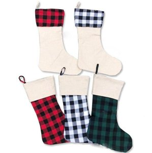 Christmas Buffalo Plaid Christmas Poly Sublimation Blank Xmas Santa Bags Christmas Decorative Candy Socks Bags GWA832
