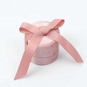 gioielli packaging ingrosso in velluto rosa bowknot rotonda per ciondolo anello e collana CX200716