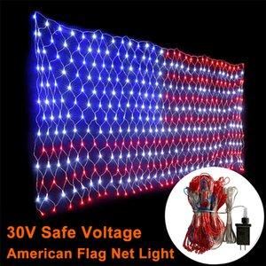 30V Amerikan Bayrağı LED Işıklar Asma Süsler Bahçe Dekorasyon Net Işıklar Noel Su geçirmez Açık Peri Işıklar
