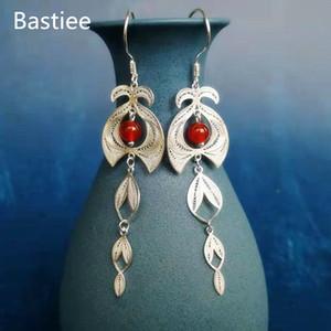 Bastiee Dangle Drop Earrings Beads Womens Jewelry Luxury Agate Earings silver Sterling 999 Hmong Handmade Jewerly Ethnic Long