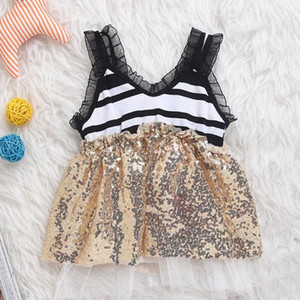 Pop Newborn Infant Baby Sequins Dress Striped Sleeveless Dress fashion icon photography bebe dress baby girls clothes July 28