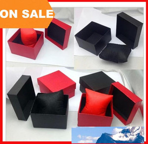 Fashion Watch boxes black red paper square watch case with pillow jewelry display box storage box drop ship