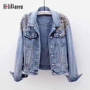 2020 Autumn Female Denim Jacket Beaded Short Coats Punk Style Embroidery Long Sleeve Slim Outwear Streetwear Women Jean Coats