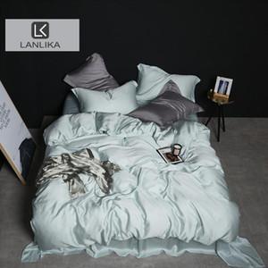 Lanlika Luxury 100% Silk Mint Green Bedding Set Beauty Skin Queen King Duvet Cover Bed Sheet Fitted Sheet Pillowcase Bed Sets