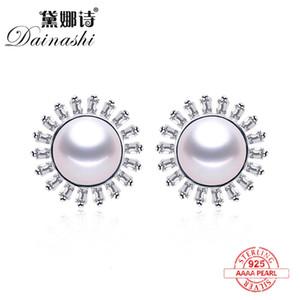 Wholesale Price New Sun Shape Zircon Earrings Natural Freshwater Pearl Stud Earrings Fashion 925 Silver Luxury Fine Jewelry Gift
