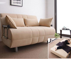 Multifunctional fabric folding sofa bed dual use living room Japanese simple leisure couch factory direct sale