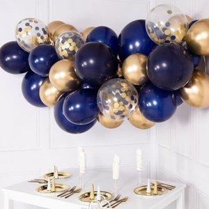 Globo cromo 30pcs DIY Globos Garland Kit Azul marino Oro del cromo del metal Garland compromiso de la boda 21 cumpleaños decoración T200104