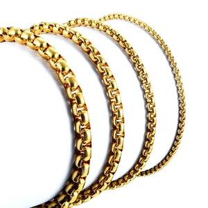 Largeur 2 mm / 3 mm / 4 mm / 5 mm / or Collier en acier inoxydable de haute qualité Boîte ronde chaîne Collier gros bijoux pour hommes