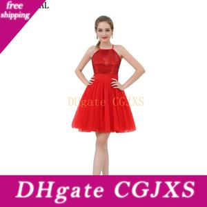 Vestidos de rojo al por mayor barata de las lentejuelas vestido de dama de Partido Shinny las niñas cabestro corto vestidos de baile 2017 B053
