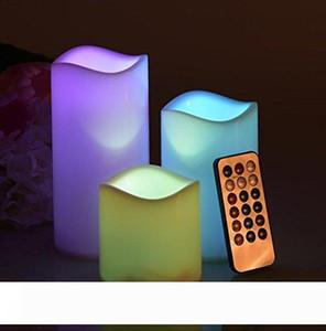 Düğün doğum günü Parti Noel için Uzaktan Kumanda Timer 3 Mum Kapalı Night Party Işık Dekor ile Wax Alevsiz LED Mum ışığı