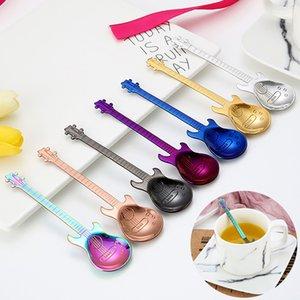 1Pcs chitarra dell'acciaio inossidabile del fumetto a forma di cucchiaio creativo Latte cucchiaio di caffè Ice Cream Candy Cucchiaino Accessori