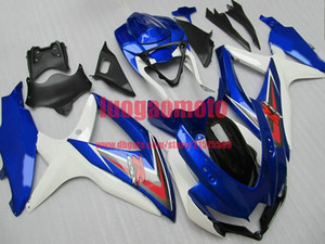 Motorcycle fairings kit For white and blue Suzuki GSXR600-750 K8 2008 2009 2010 08 09 10 11 GSXR600 GSXR750 ABS Injection Bodywork body kits