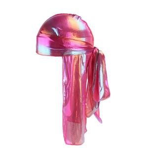 La seda de la cola larga bufanda Cap del sombrero del pirata colores multi suave satén Durag pañuelo de turbante para las mujeres pirata FWE1222