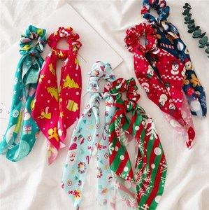 Scrunchies navidad Mujeres Hairband bricolaje arco Serpentinas pelo cola de caballo bufanda Diseñador pelo de las muchachas accesorios del árbol de Navidad ciervos 6 diseños DW5721