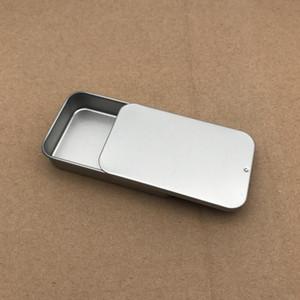 Toptan düz gümüş rengi slayt üst teneke kutu, dikdörtgen şeker usb kutusu durumda Konteyner Ücretsiz Kargo AAB1836