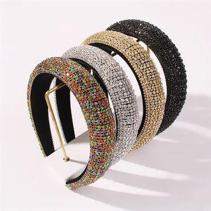 Rhinestone Schwamm Stirnband Perlen Bohrer Stirnband Farbe Diamant Haarreifen Frauen Breite Krempe Haarband Mädchen Barock Stirnband