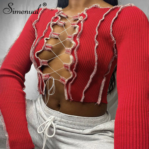 Simenual Patchwork Lace Up Langarm Crop Tops Frauen gewellte Sexy Party Strickwaren T-Shirt aushöhlen Bodycon Verein Tie Front Oben T200814