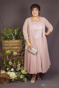 dark pink Ankle Length Plus Size Mother of Bride Dress with Coat 2020 Lace Chiffon 3 4 Sleeve Mother of Groom Suit Wedding Party Gowns