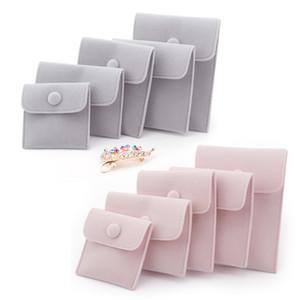 쥬얼리 선물 포장 봉투 파우치 스냅인 패스너 먼지 증거 보석 저장 가방 모듬 된 색상으로 긴 머리 벨벳으로 만든