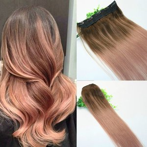 Ombre Rose Gold Pink With Brown Highlights Dark Brown Root One Piece Clip In Human Hair Extensions 5Clips With Lace Remy Human Hair