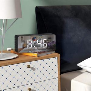 LED Ayna Çalar Saat Dijital Erteleme Masa Saati Uyandırma Işık Elektronik Büyük Zaman Sıcaklık Ekran Ev Dekorasyon Saati