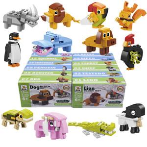 12in1 Мини строительные блоки Cartoon Animals Model Собирают аксессуары зоопарк наборы творческих DIY Игрушки Игры Цифры Кирпичи Дети Подарочные